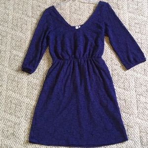 Love Notes Navy Floral Stretch Lace Dress